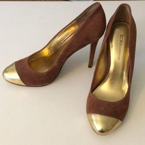 BCBG gold toed heels